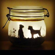 Dog jar light can be made with any breed by craftylittlefoxshops