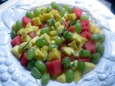 Pineapple Watermelon Salad with Grapes and Rosemary  ANYDAYSOIREE.com