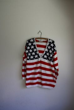 vintage 90s american flag oversized slouchy sweater by acupfullofsunshine, $38.00