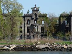 Forgotten isle in the East River between Bronx and Rikers Island, NYC Remains of Riverside Hospital for infectious diseases