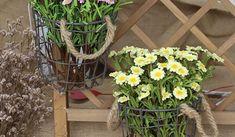 Cestos y objetos de alambre que, además de sugerir un aire fresco, campestre y veraniego, pueden tener múltiples usos en el interior de la casa.