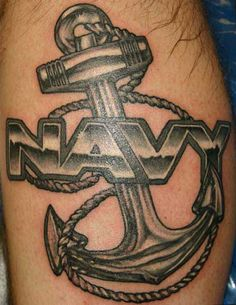 Old School Navy Anchor Tattoo #Tattoos #Anchor #Navy #USN #Military http://tattoopics.org/navy-anchor/