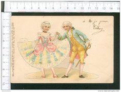 Rare Belle  CPA Carte Gaufrée ( Relief )  à Désouper Découpage  Couple XVIIIème Danse Menuet