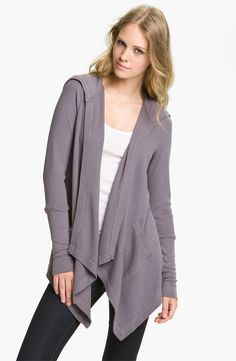 Splendid Draped Thermal Knit Wrap Casual Cool Grey Shadow Hoodie Size Medium Get it for a fraction of the retail price! Auctions starting at .99 ! #splendid #sweaterwrap #hoodie