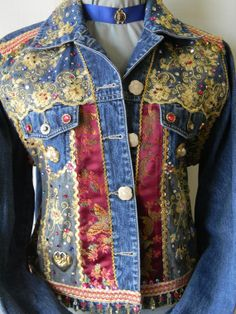 Vestes Empierré Yellow Lace Jeweled Denim by StudioKWearableArt, $320.00