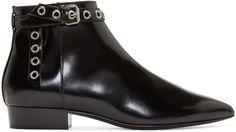 Saint Laurent Black Patent Paris Ankle Boots