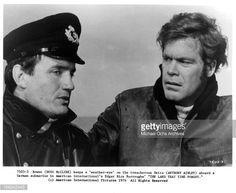 Anthony Ainley and Doug McClure in a scene from the film 'The Land That Time Forgot', 1975.