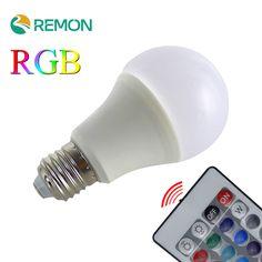 New Arrival RGB Led Bulb Light E27 110V 220V Led RGB Lamp 3W 5W 7W With Remote Control Lampara A65 A70 A80 LED Bulbs Lamps #Affiliate