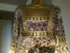 Gorgeous Jean Varon vintage maxi dress brown floral gold ribbon bell sleeves stunning empire line small