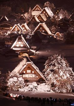 World Heritage Site: Shirakawa village in Gifu prefecture lit up on a snowy night  <世界遺産>岐阜・白川郷でライトアップ 合掌集落浮かぶ