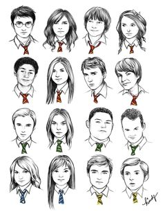 Hogwarts students, by the color of their ties. These are amazing! And the first Hufflepuff looks like Josh Hutcherson :)