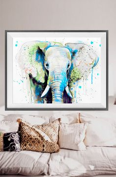 Green Elephant Head watercolor painting printElephant by SlaviART