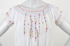 1930's Mexican inspired Cotton Dress Embroidery Smocking Maria Felix by ZwiggyAustinVintage on Etsy