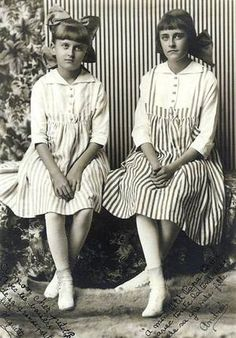 Huguette Clark, left, with her sister, Andree.