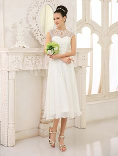 Chic Tea-Length Ivory Bridal A-line Chiffon Wedding Gown with Jewel Neck Sequin - Milanoo.com