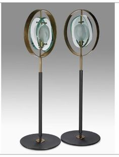 MAX INGRAND  FONTANA ARTE  Pair of table lamps, Italy, 1950s  Carved and etched crystal, brass, enameled aluminum
