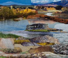 """""""Streamside,""""by Janice McDonald. Original collage on wood panel, 12 x This collage is installed in a corporate boardroom and was also digitally enlarged and printed to fill an entire wall of a stairwell. Collage Art, Collages, Collage Landscape, Photomontage, Wood Paneling, Fill, Teaching, Fine Art, The Originals"""