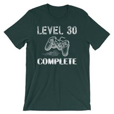 Level 30 Complete Shirt 30th Birthday Gifts Idea Video Game Lovers Geek T Shirts Funny For Men Short Sleeve Unisex