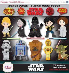 50% OFF STAR WARS Digital Clipart, Darth Vader, Luke Skywalker, Han Solo, R2-D2, Yoda, Princess Leia, Chewbacca, Space Characters