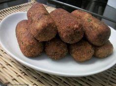 Receita de Croquete de Batata com Carne Moída - 2 Colheres (sopa) de queijo parmesão ralado, 3 Colheres (sopa) de farinha de trigo, 2 Xicaras (chá) de carne...