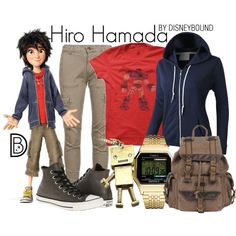 Hiro Hamada by leslieakay on Polyvore featuring LE3NO, Fornarina, Converse, Wilsons Leather, Timex, disney, disneybound and disneycharacter