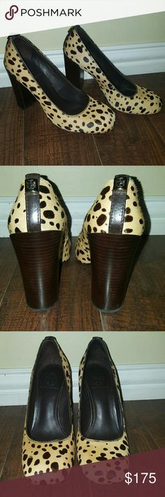 💛Tory Burch Cheetah Rae pump💛 Stacked heel measures approximately 4 inches. Calf hair. Square toe. Slip on. Fits true to size unlike most TB. These are in mint condition. No flaws! Only wear on sole. No box or dust bag. I barely wear these and they need a good home! They are so versatile, great for the office or with jeans. Also comfy, no problem wearing them all day!  Reasonable offers welcome 😉 Tory Burch Shoes Heels