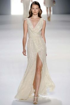 Fashion Friday: Elie Saab S/S 2012 | http://brideandbreakfast.ph/2011/12/16/fashion-friday-elie-saab-ss-2012/ | Designer: Elie Saab | Shimmery cream dress with v-neck and high slit
