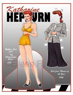 Muñeca de papel de Katharine Hepburn