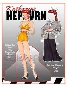 Katharine Hepburn Paper Doll by PaperDollsbyERMiller