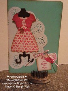 """By Kathe Oldham for """"The JorjaRose Files"""", featuring the Stampin' Up! """"Dress Up"""" Framelits, stamp sets """"That's The Ticket"""" and """"Petite Pairs"""", Punches: """"Ticket Duo Builder"""", """"Large Tag"""" ♥ the cute belt made from a strip of cardstock and a glimmering brad."""
