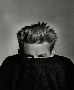 James Dean, pull over sweater, 1955 by Phil Stern