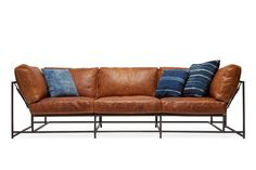 Cognac Brown Leather and Blackened Steel Sofa 8