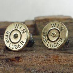 Bullet  Earrings  - Post Earrings - Ultra Thin - Winchester - Luger 9mm. $14.99, via Etsy.