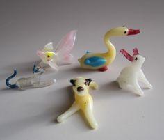 Vintage hand blown glass animals - Cat, Dog, Fish, Duck ...