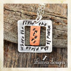 Unisex Recycled Sterling Silver Square Rumi Quote by AhimsaDesigns, $59.00