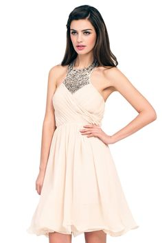 Little Mistress Cream Heavily Embellished Halterneck Prom Dress