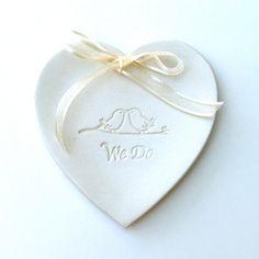 Ring Bearer Pillow, Ceramic wedding ring holder, Wedding Ring Plate, Hand Built, We Do via Etsy