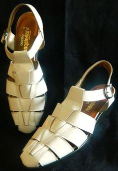 California Magdesians White Leather Braided Slingback Sandals Wedges 9N SH123 #CaliforniaMagdesians #sandals