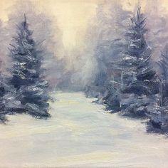 A new piece - oil on canvas. Winter scene. #art #oilpainting #oiloncanvas #landscape #pleinairpainting #toocoldforpleinair #gallery #artgallery #newhampshire #newengland #winter #snow #dougphilipon #painting