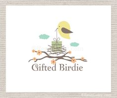Items similar to Premade Logo - Craft Bird Gift Wrap Surprise Party Clouds Skura Cherry Blossom Nest Sparrow Wings Tree Branch Flowers Sky Organic Green on Etsy Flower Branch, Tree Branches, Gods Love, Cherry Blossom, Wings, Snoopy, Gift Wrapping, Bird, Logo Ideas