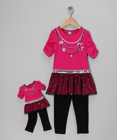 Take a look at this Pink Glitz Tunic Set & Doll Outfit - Toddler by Dollie & Me on #zulily today!
