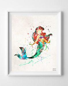 Ariel Print, Wall Art, Watercolor, Disney, Disney Princess, Princess, The Little Mermaid, Painting, Poster, Decor, Fathers Day Gift
