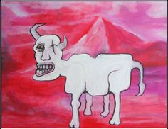 "Artist's Statement Full Artwork Title: ""The Old and Very Grumpy Mountain Goat""  acrylics on Canvas  size: 100 x 80 cm"