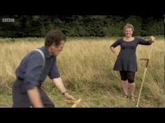 Beth teaches Monty Don to scythe - YouTube