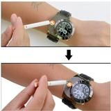 Funky wristwatch with flameless cigarette lighter