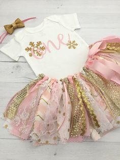 Pink and Gold Winter Wonderland Birthday Outfit by MeadowsMarvels