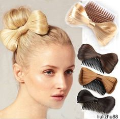 these are cool. Assort Bow Bowknot Comb clip Hairpiece Synthetic Hair Extensions Ponytail Holder