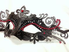 Black Masquerade Mask Venetian Mask by MasquerademaskStudio