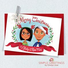 Custom Illustrated Family Portrait Christmas Card, Family Portrait Christmas Card, Personalized Family illustration, Holiday Card