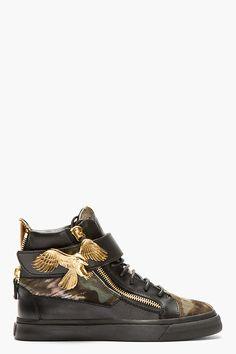 GIUSEPPE ZANOTTI Black Calf-Hair Eagle High-Top Sneakers